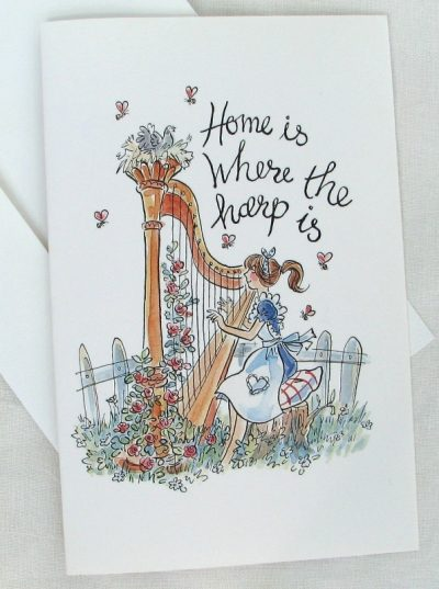 """Home is Where the Harp Is"" Greetings Card- pack of 4"