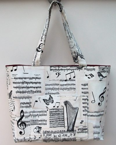 """""""Bach"""" Music themed extra large tote bag"""