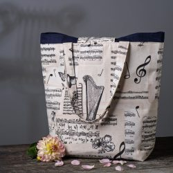 """Bach"" Music themed Large Tote Bag"